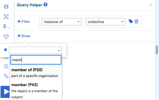 A screenshot of the query helper interface with the show members function activated