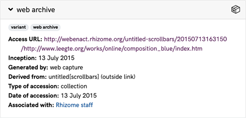 A screenshot of the Metadata section for the web archive link variant of untitled[scrollbars], an artwork in the ArtBase