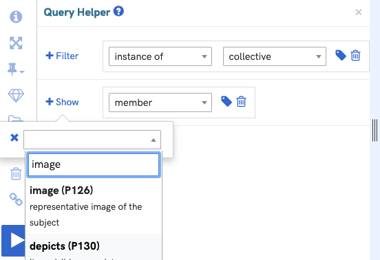 A screenshot of the query helper interface with the show images function activated