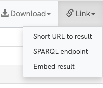 A screenshot of the query service results toolbar showing the link dropdown open