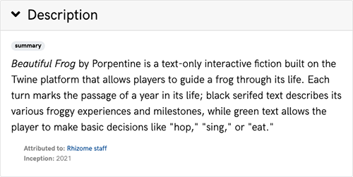 A screenshot of the Description section from the page for Beautiful Frog, an artwork in the ArtBase