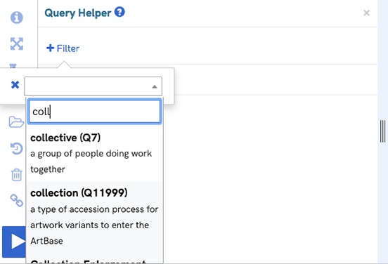 A screenshot of the query helper showing filtering for collectives