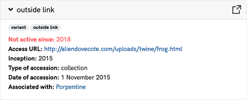 A screenshot of the Metadata section for the outside link variant of Beautiful Frog, an artwork in the ArtBase