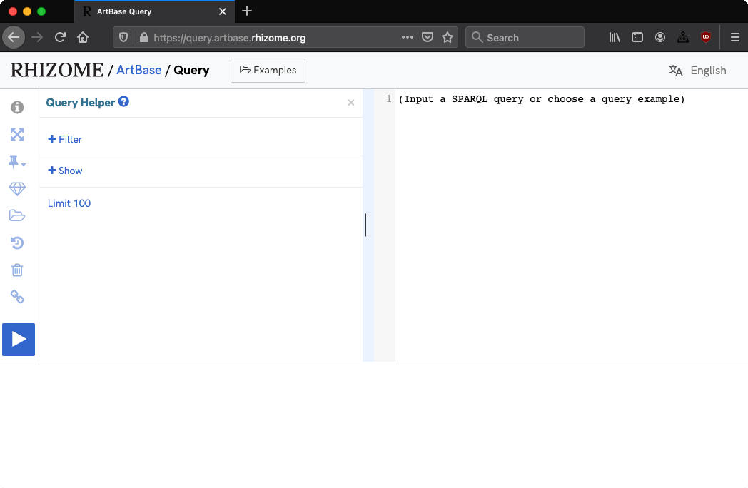 A screenshot of the interface of the ArtBase query service