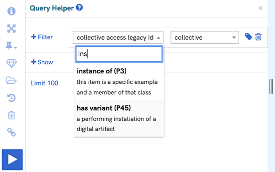 A screenshot of the query helper showing filtering for instances of collectives